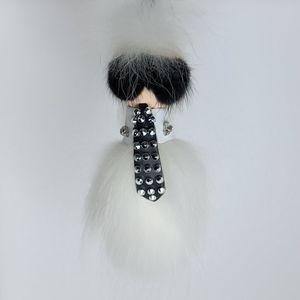 Karlito white studded real fur keychain, bag charm